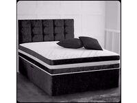 Crushed Velvet Divan Bed Set with High Density Open Sprung Memory Foam Mattress & H/Board