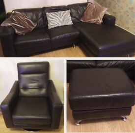 3 piece leather suite - L shape sofa and swivel chair