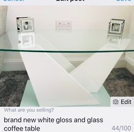 Brand new white gloss and glass coffee table