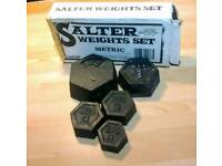 Vintage boxed 'Octagon' kitchen scale weights.