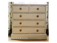 Shabby Chic Antique Pine Chest of Drawers (2 over 3)