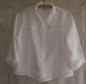 White pure Linen shirt, size 8-10/Small