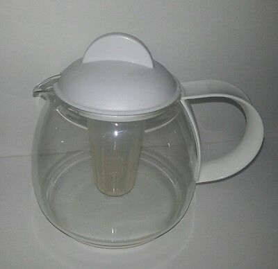 Jenaer Glas Clear Glass Coffee Teapot with Infuser Filter and white lid EX-COND
