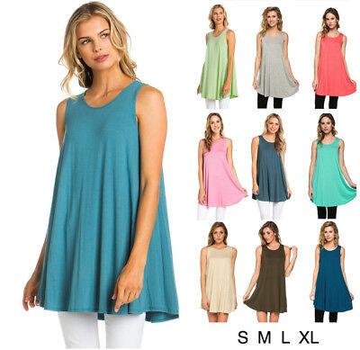 Women's Basic Solid Sleeveless Tunic Swing Tank Top Tee Shirt Dress S M L XL USA Swing Top Tee