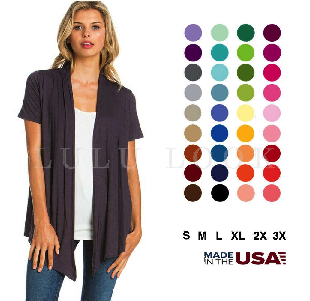 Women's Solid Short Sleeve Cardigan Open Front Wrap Vest Top