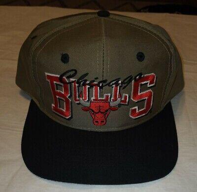 Vtg Chicago Bulls Twill Snapback Tan Hat