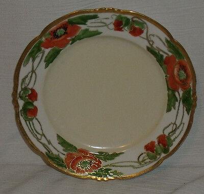 """Habsburg Austria Dinner Plate 8.5"""" Vtg Hand Painted Orange Poppy"""
