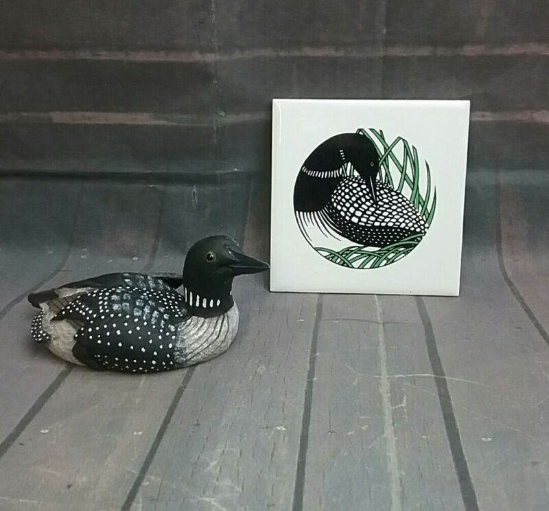 Sign of the Loon Black Bird Figurine and Loon ceramic coaster hot plate Trivet