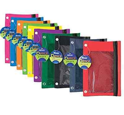 - 1 Mesh Covered Clear Front Zippered Pencil Case Pouch Bag for 3 Ring Binder
