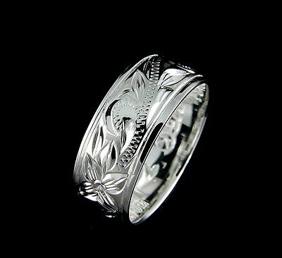 (8MM STERLING SILVER 925 HAWAIIAN BAND RING PLUMERIA FLOWER SCROLL SIZE 4-14)