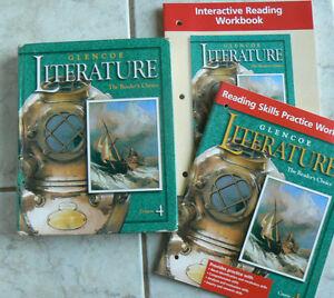 Glencoe Literature, Course 4 Reader's Choice text & 2 NEW workbooks,gr.9/9th