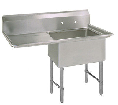 Bk Resources One 18x24x14 Compartment Sink Ss Leg 24 Left Drainboard