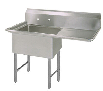Bk Resources One 18x18x12 Compartment Sink Ss Leg Right Drainboard