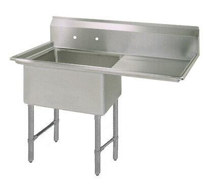 Bk Resources One 18x24x14 Compartment Sink Ss Leg Right Drainboard