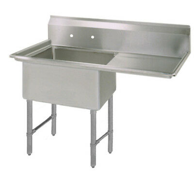 Bk Resources 16x20x12 One Compartment Sink Ss Leg Drainboard Right