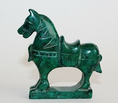 Hand Carved Chinese Green Jade Animal Horse Figure Statue Year of the Horse