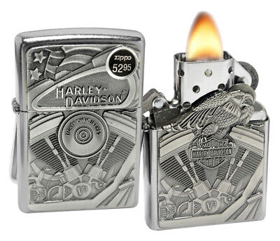 Zippo 29266 Harley Davidson Motor Flag Eagle Street Chrome Windproof Lighter New