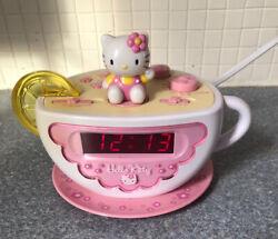 Hello Kitty Tea Cup Digital Alarm Clock AM/FM Radio Night Light Lemon Slice