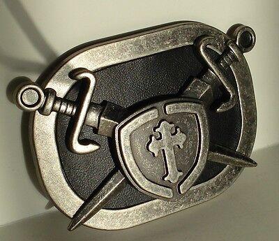 GOTH PUNK SWARD CROSS SHIELD HIP HOP LEATHER METAL BELT BUCKLE Cross Shield Belt Buckle