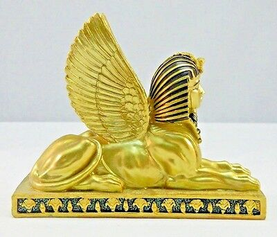 """Ancient Egyptian Golden Winged Sphinx Figurine Statue Collectible 6"""" Long"""