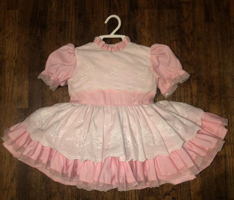 Vintage Sweet'n Sassy Pink Eyelet Pinafore Layered Circle Lace Party Dress 2/3 T