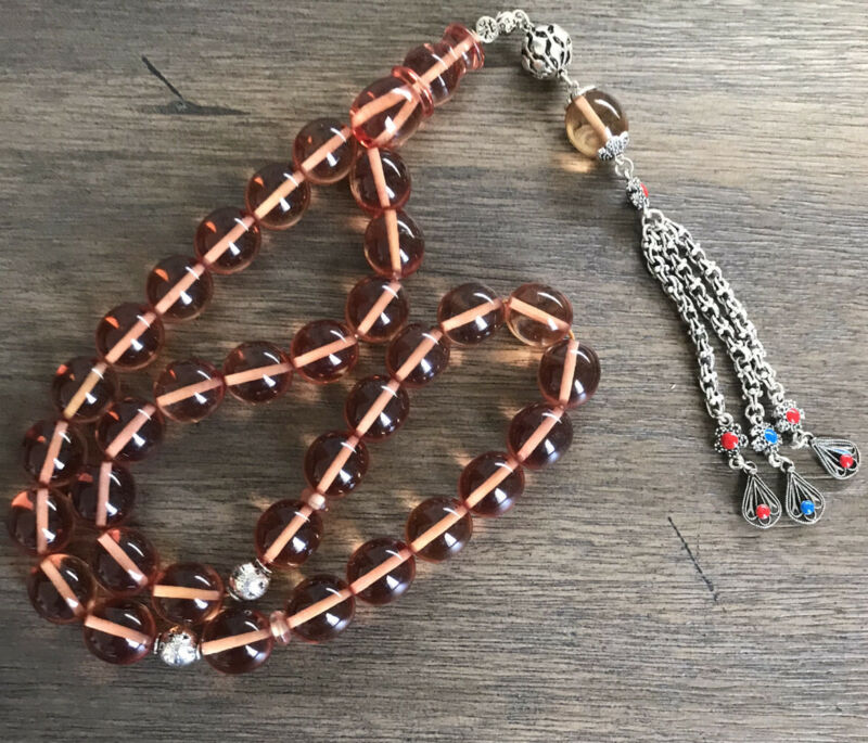 New Collectible Turkish Sandalos Amber Rosary 33 Beads سبحة مسبحة سندلوس مسباح