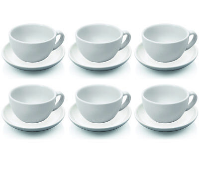 6 Stück Cappuccinotasse und Untertasse, Cappuccinotassen Set, Porzellan 0,20 l Cappuccino-tasse