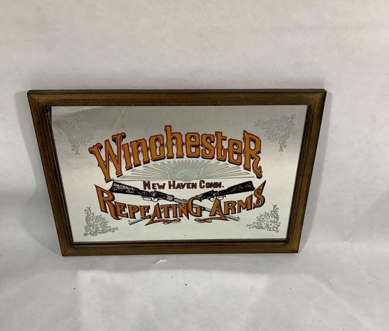 VTG. Winchester Repeating Arms Rifle Firearms Gun Advertising Bar Mirror
