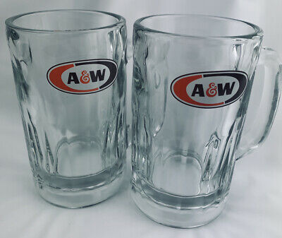 A&W Root Beer Vintage Heavy Soda Glass Beer Mugs 12 Oz Set Of 2