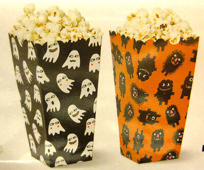 Halloween Popcorn Treat Bags (12 POPCORN BOXES SWEETS HALLOWEEN PARTY PARTIES GHOST BAG TREAT MOVIE)