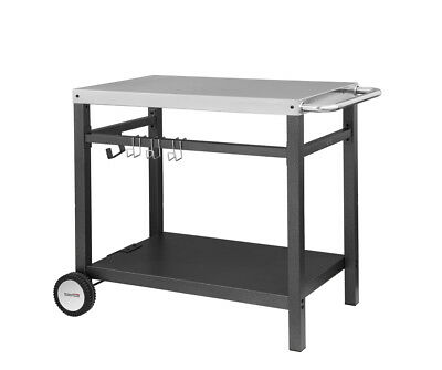 Royal Gourmet Bbq Work Table Kitchen Outdoor Prep Cart Storage Silver 34 X 20