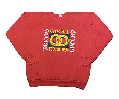 Vintage 1990s Bootleg Gucci Double G Puffy Graphic Red Raglan Sweatshirt Size XL