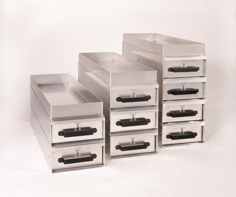 Heavy-Duty Aluminum Slide Drawer Storage Units with Top Shelf - By American Van