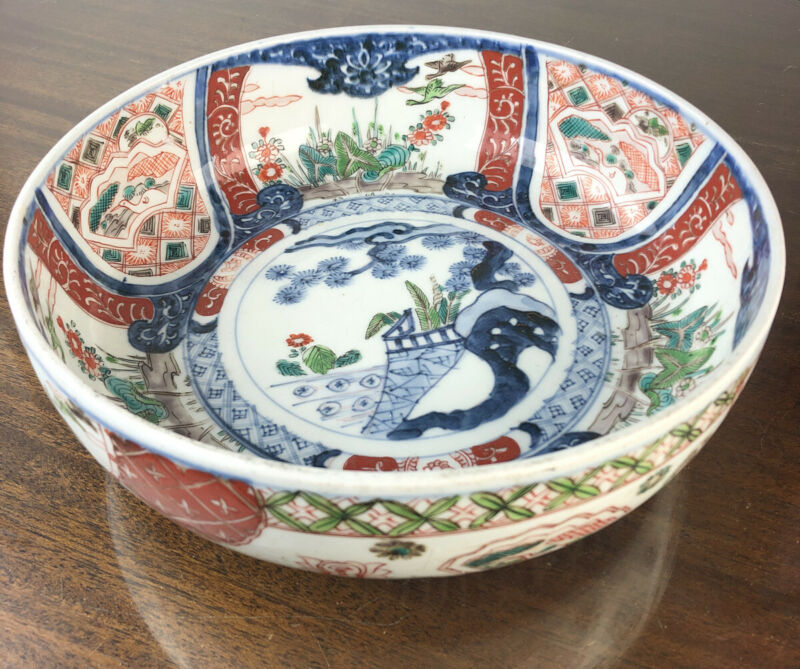 Japanese Meiji Imari Ware 19c Large Bowl Hand Painted Porcelain