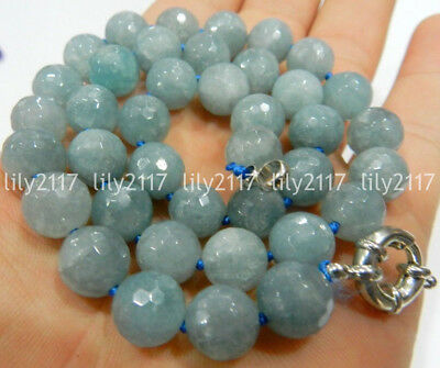 """Natural 8/10/12mm Faceted Round blue Aquamarine Beads Gemstone Necklace 18"""" AAA"""
