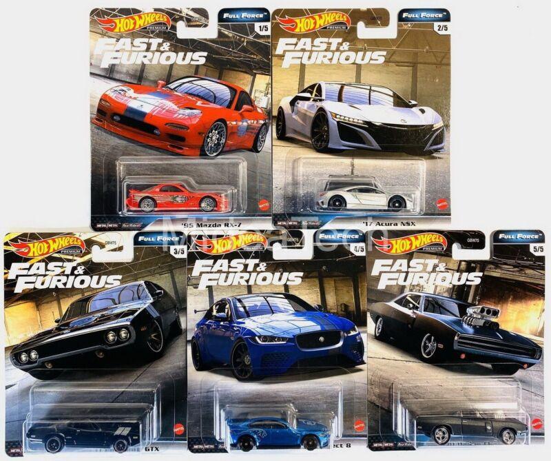 2020 Hot Wheels Fast & Furious Premium Full Force Set of 5 Cars, 1/64 GBW75-956H