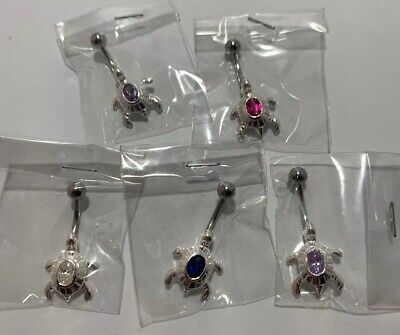 Sterling Silver Belly Button Jewelry Turtle with Rhinestone Lot 5 PCS