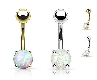 2pcs Opal Glitter Prong Set Belly Button Navel Rings 14G