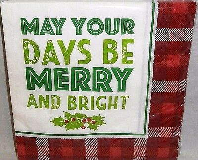 Christmas Luncheon Napkins  MAY YOUR DAYS BE MERRY AND BRIGHT 12 7/8