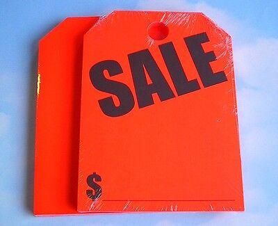 +Free Shipping CAR DEALER 50 REAR VIEW MIRROR HANGING WINDOW TAGS SALE rd/orange