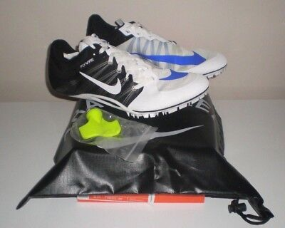 82dcae0f5  125 Mens NIKE ZOOM JA FLY 2 Track Running Sprint Shoes Spikes WHITE BLACK  11.5
