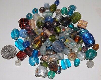 Mixed Pony Beads - 100 Mixed Glass Foil Beads All Colors & Sizes (Large)--Pony Round Barrel Rice