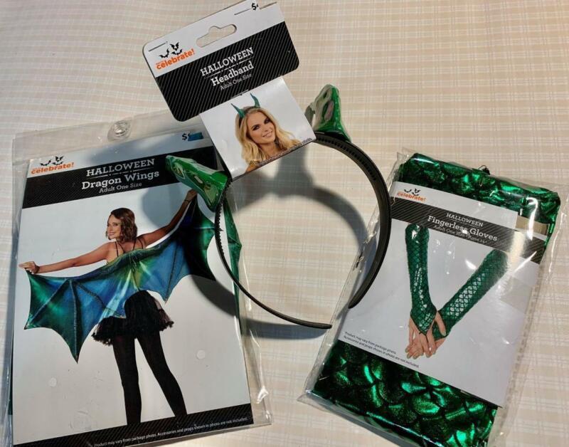 "HALLOWEEN Adult Costume Accessory ""GREEN DRAGON"" (3pcs HEADBAND/GLOVES/WING) NEW"
