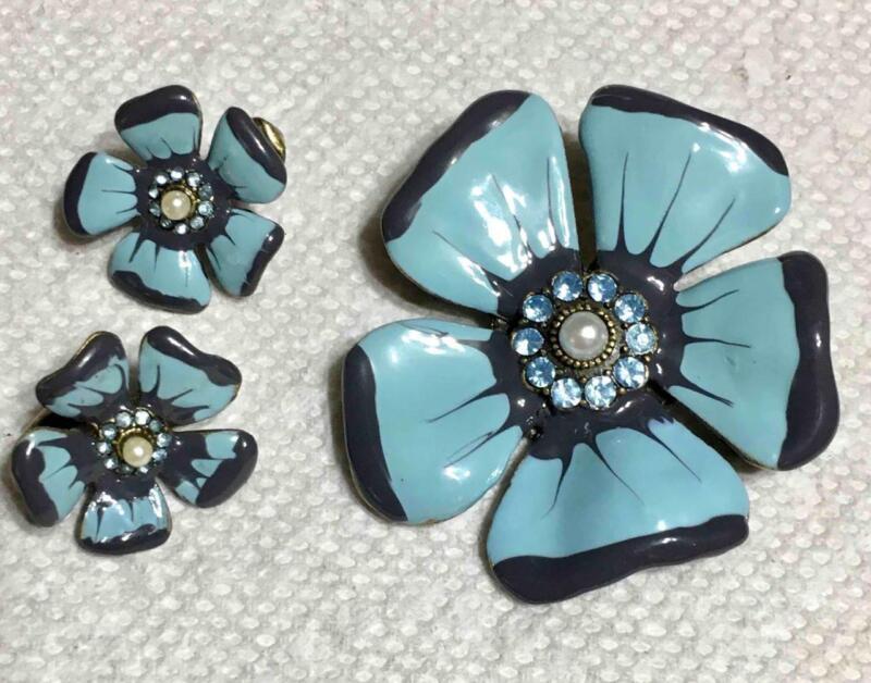 """Steel Blue & Black Enamel, Rhinestones & Faux Pearl 2"""" Brooch w Clip Earrings"""