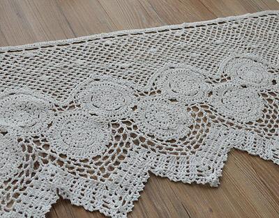 "36"" White Crochet Lace Kitchen Cafe Window Curtain Valance Wedding 16"" length"
