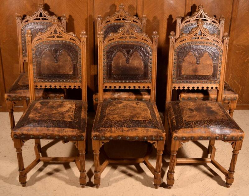 Set of 6 Antique Gothic Revival Dining Chairs Solid Oak with Leather Upholstery