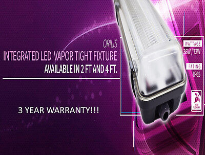 72W 4 Ft. Vapor Water Tight Hardwired LED Fixture 6500K Outdoor Shop Light