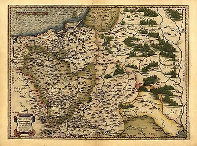 A1 Colour Poland, Lithuania West Russia Reproduction Ortelius Old Antique Map