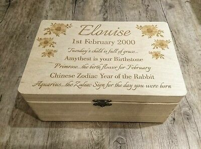 Memory Box.  Personalised wooden box.  18th 21st birthday communion christening  - 21st Halloween Birthday