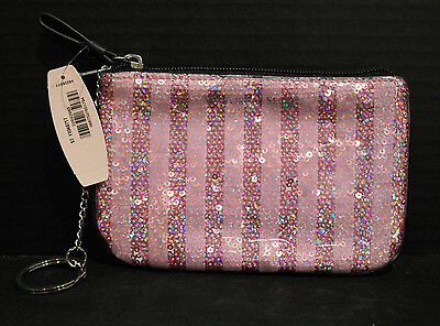 Victorias Secret Mini Keychain  Coin  Credit Card  Wristlet  Sequin Pink  New